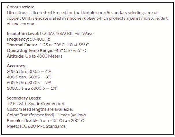 Flex Core FCL 800//5-6 Current Transformer 800:5A NEW