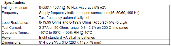 High Current Loop Tester Specs