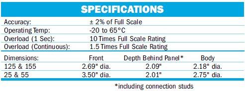 Simpson Round Analog Panel Meter Specs