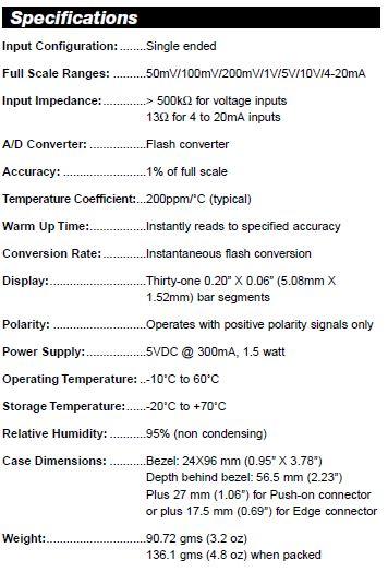 Short-Depth Bargraphs Specs