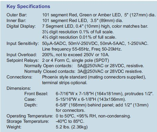 Concentric Bargraphs Specs