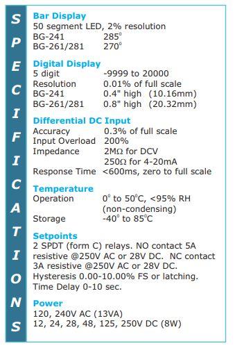 BarGraph Gate Position Indicator Specs