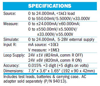 Current Calibrator Specs