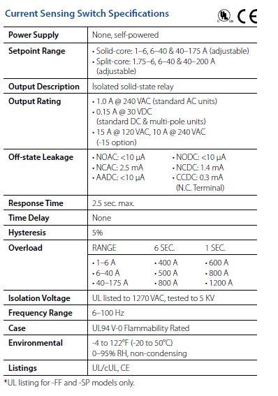 Current Sensing Switch Specs