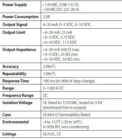NK Technologies DC Current Transducer Specs