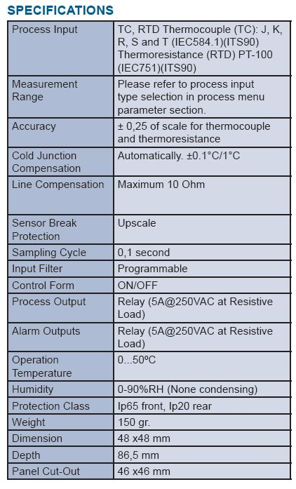 temperature controller specs